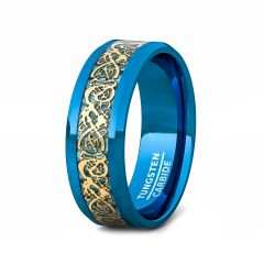 Blue Tungsten Ring Gold Celtic Dragon Pattern Beveled Edge 8mm Comfort Fit