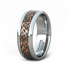 8mm Classic Polished Tungsten Ring Rose Gold Celtic Dragon Black Carbon Fiber Beveled Edge Comfort Fit