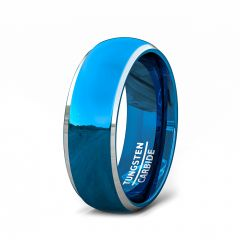 Two Tone Blue Tungsten Ring Polished Beveled Edges Comfort Fit