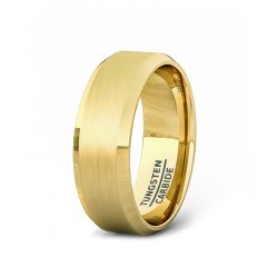 18k Gold Plated Tungsten Carbide Ring with Brushed Beveled Edges 8mm Comfort Fit