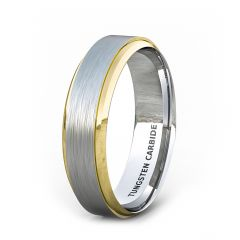 Two Tone 6mm Tungsten Ring 18k Gold Step Edge Brushed Surface Comfort Fit