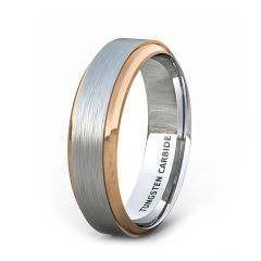 Two Tone 6mm Tungsten Ring Rose Gold Step Edge Brushed Surface Comfort Fit