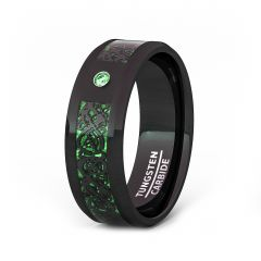 Mens Wedding Band/Fashion Ring 8mm Black Celtic Dragon Tungsten Ring Green Carbon Fiber CZ Beveled Edge Comfort Fit