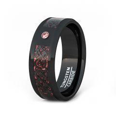 Mens Wedding Band/Fashion Ring 8mm Black Celtic Dragon Tungsten Ring Red Carbon Fiber CZ Beveled Edge Comfort Fit
