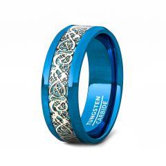 Blue Tungsten Ring White Celtic Dragon Pattern Beveled Edge 8mm Comfort Fit