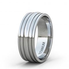8mm Titanium Ring Dome Surface 4 Groove Flat Edge Comfort Fit