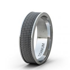8mm Titanium Ring Stainless Steel Rope Flat Edge Comfort Fit