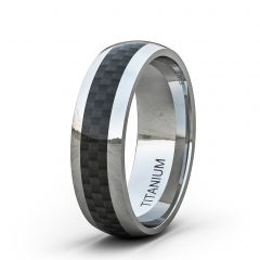 8mm Titanium Ring Classic Mens Wedding Band Polished with Black Carbon Fiber Dome Comfort Fit