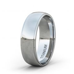 8mm Titanium Ring Classic Polished Dome Surface Step Edge Comfort Fit
