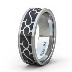 8mm Titanium Ring Black Polished Web Pattern Flat Edge White Comfort Fit