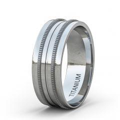 8mm Titanium Ring Double Miligrain Design Beveled Edge Comfort Fit