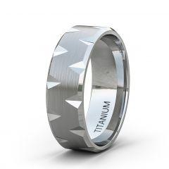 Tungsten Ring Satin Finish Alternate Cut Beveled Edge Comfort Fit