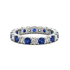 925 Sterling Silver Ring White and Blue Cubic Zirconia Eternity Wedding Band