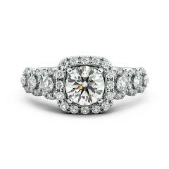 925 Sterling Silver Ring Engagement Halo Band with Brilliant Round Cut CZ