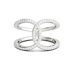 925 Sterling Silver Ring Cross Infinity with CZ