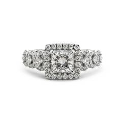 925 Sterling Silver Ring Engagement Halo Band with Brilliant Princess Cut CZ