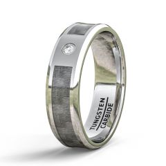 Mens Wedding Band/Fashion Ring 8mm Tungsten Ring Beveled Edge Carbon Fiber Polished Cubic Zircon Comfort Fit
