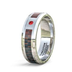 Mens Wedding Band/Fashion Ring 8mm Classic Tungsten Ring Red Carbon Fiber Cubic Zircon Comfort Fit
