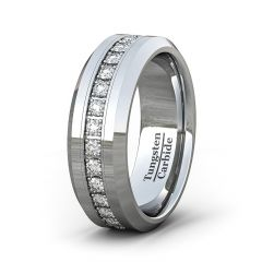 Mens Wedding Band/Fashion Ring Classic 8mm Tungsten Ring Polished Fully Stacked Cubic Zircon Beveled Edge Comfort Fit