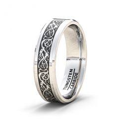 Tungsten Ring Mens Wedding Band/Fashion Ring 8mm Dragon Beveled Edge