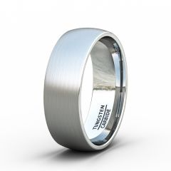 8mm Tungsten Ring Brushed Classic Dome Mens Wedding Band/Fashion Ring Comfort Fit